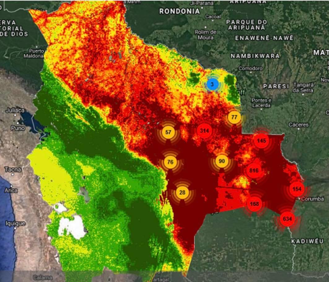 Focos de incendio en los bosques del oriente boliviano