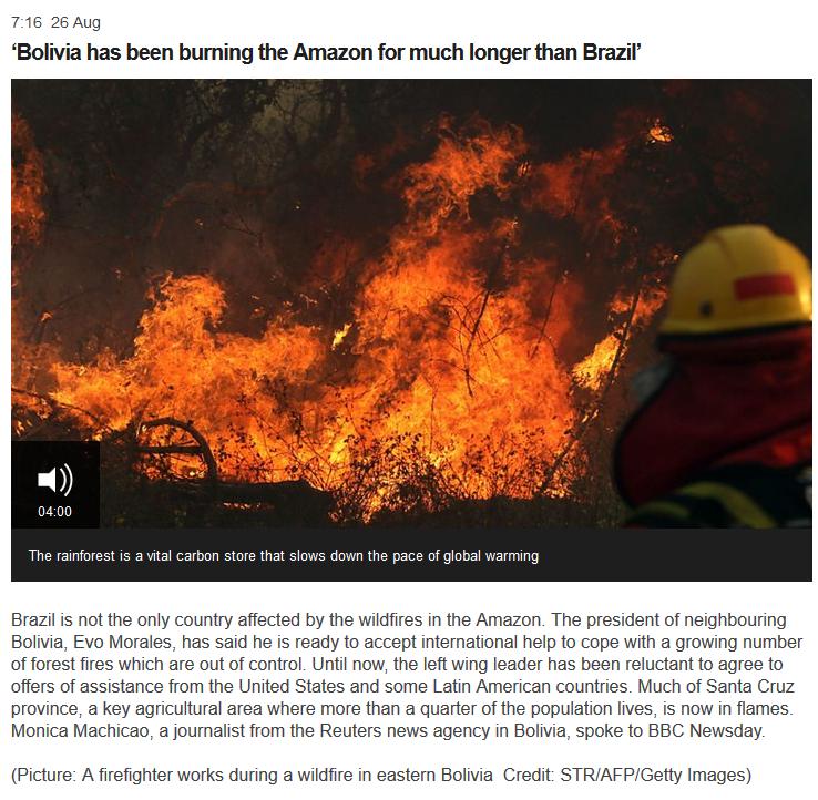 Incendios de Bolivia en BBC