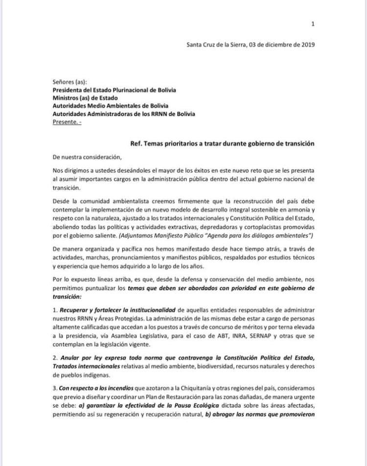 Carta de la Comunidad Ambientalista al Gobierno de transición - Bolivia